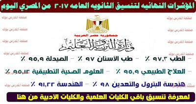 المؤشرات النهائيه لتنسيق الثانويه العامه 2017 من المصري اليوم