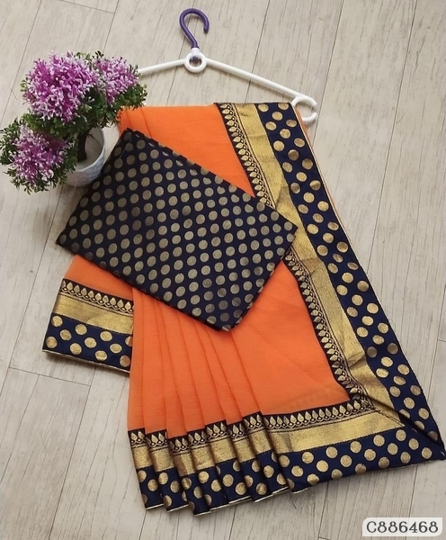 Fabulous Marble Chiffon Bordered  Regular Sarees