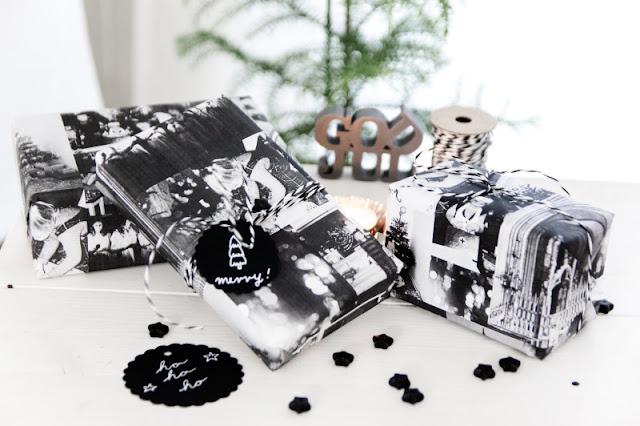 Geschenkpapier schwarz weiß