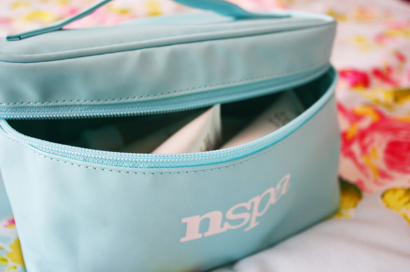 A goodie bag from NSPA featuring lots of beauty products