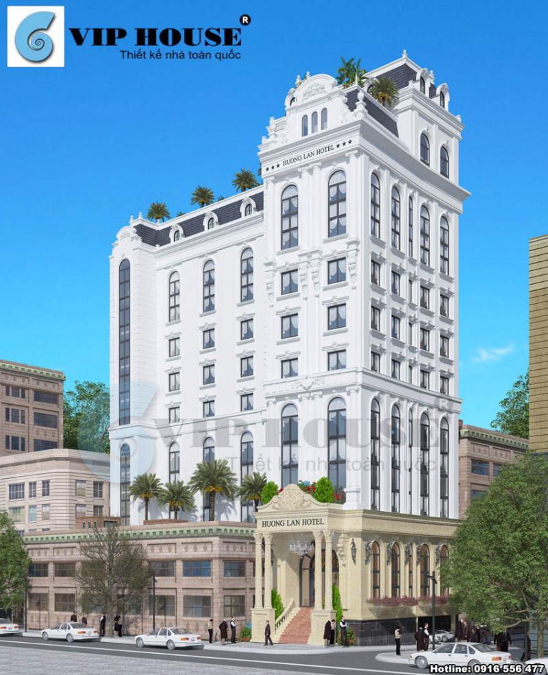 Hình ảnh: Góc nhìn bao quát 2 mặt tiền của thiết kế khách sạn 4 sao Hương Lan Hotel