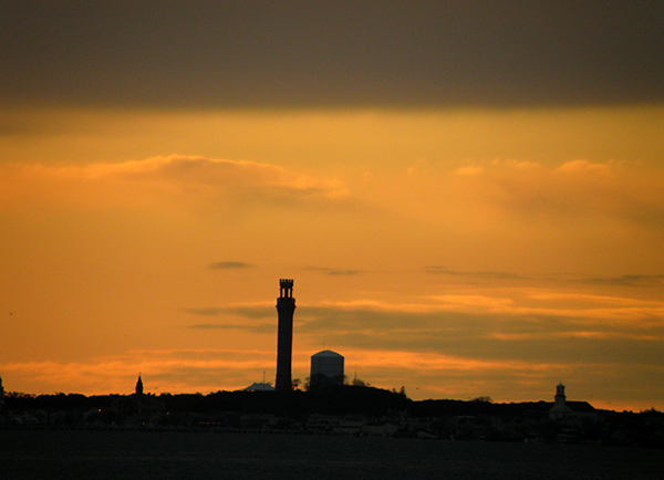 Sunset in Provincetown, MA with monument