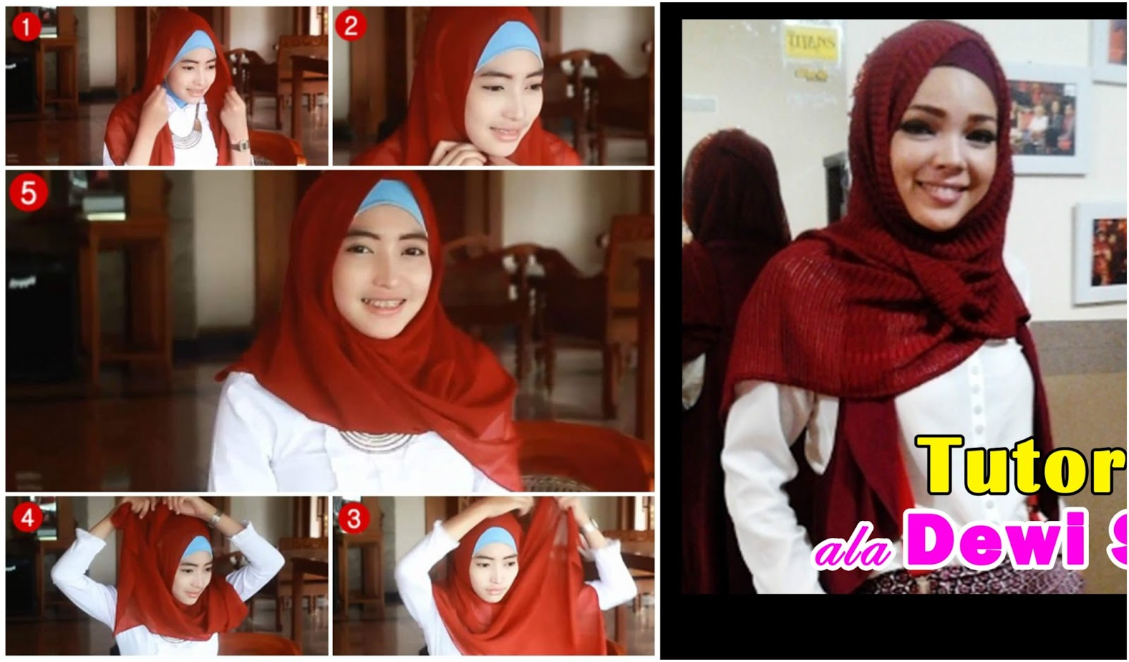 22 Tutorial Hijab Ala Dewi Sandra Vs Fatin Shidqia Favorit Mana