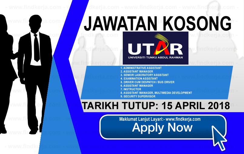 Jawatan Kerja Kosong UTAR - Universiti Tunku Abdul Rahman logo www.findkerja.com april 2018