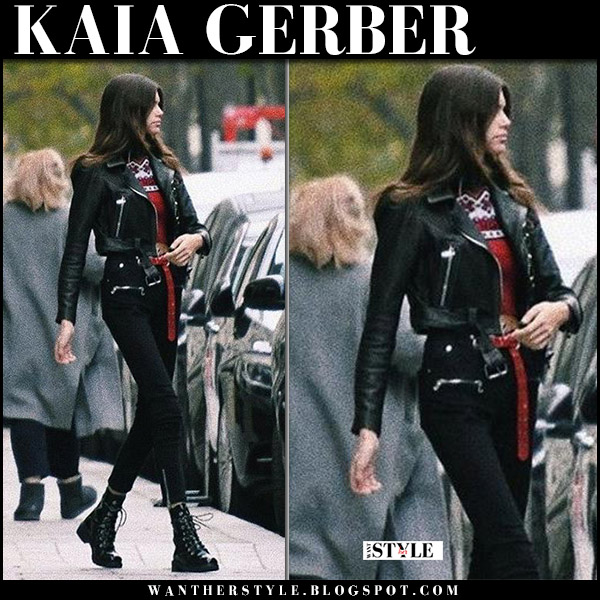 Kaia Gerber in black crop jacket, black pants and black ankle boots in Paris november 1 street style model