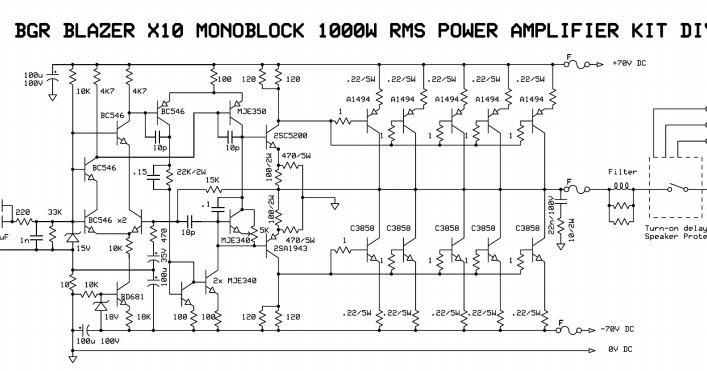 1000 Watts Power Amplifier Schematic Diagrams 1000watt Audio Power Amplifier Blazer Circuit The Circuit