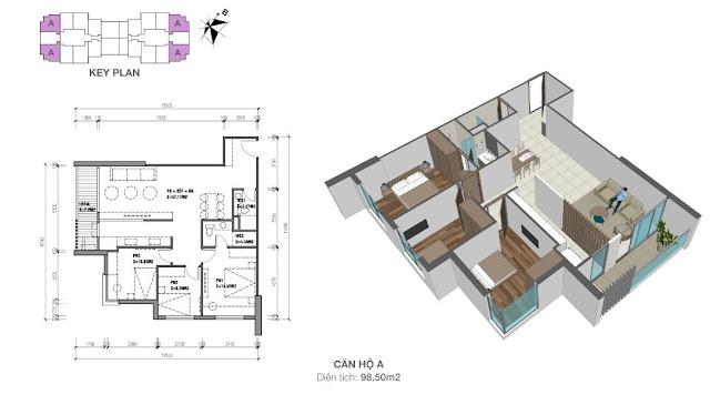 Căn góc A có diện tích 98m2 với thiết kế 03 phòng ngủ