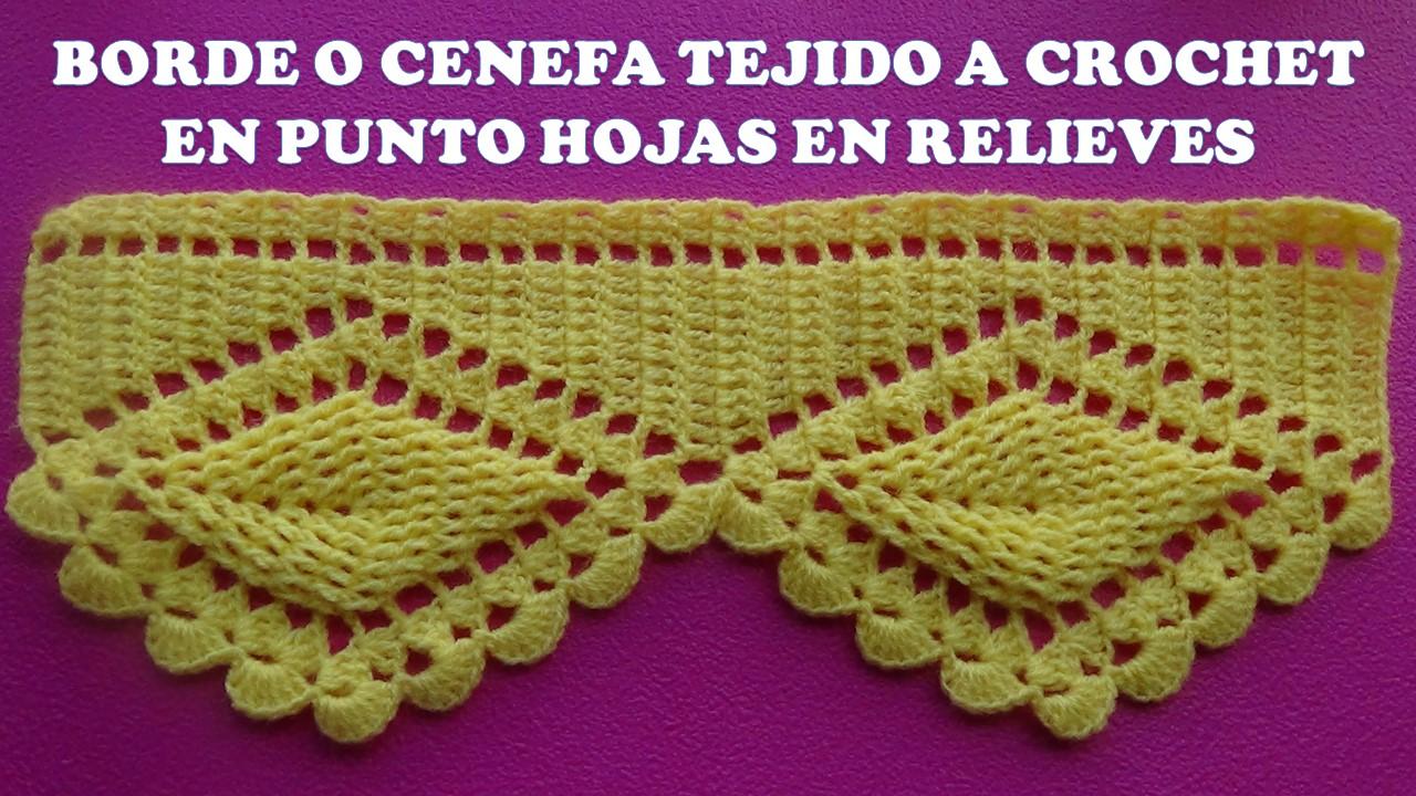 Tejidos milagros ena borde o cenefa hojas en relieves - Colchas de crochet paso a paso ...