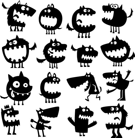Siluetas de monstruos o lobos gritando