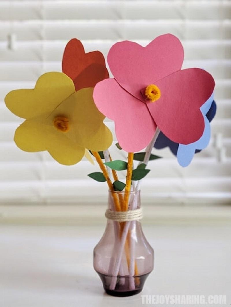 heart paper flowers