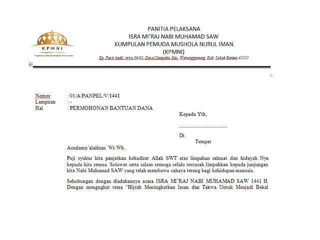 Contoh Surat Permohonan Dana untuk Acara Isra Mi'raj Nabi Muhammad SAW