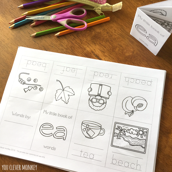Printable Digraph Activities Long E sounds ea/ee/ey | you clever monkey