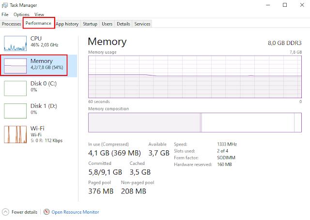 Cek Slot RAM Laptop dengan Task Manager