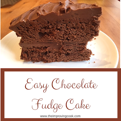 Easy chocolate fudge cake pinnable image