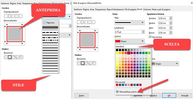 personalizzazione dei bordi nel documento
