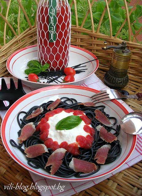 Черни спагети с прошуто