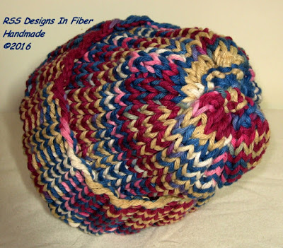 Handmade Ribbed Knit Hat in Americana Red - Blue - Tan - by RSS Designs In Fiber - Choose Size