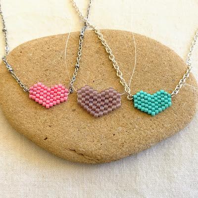 Brick stitch bead heart jewelry tutorial by Lisa Yang Jewelry