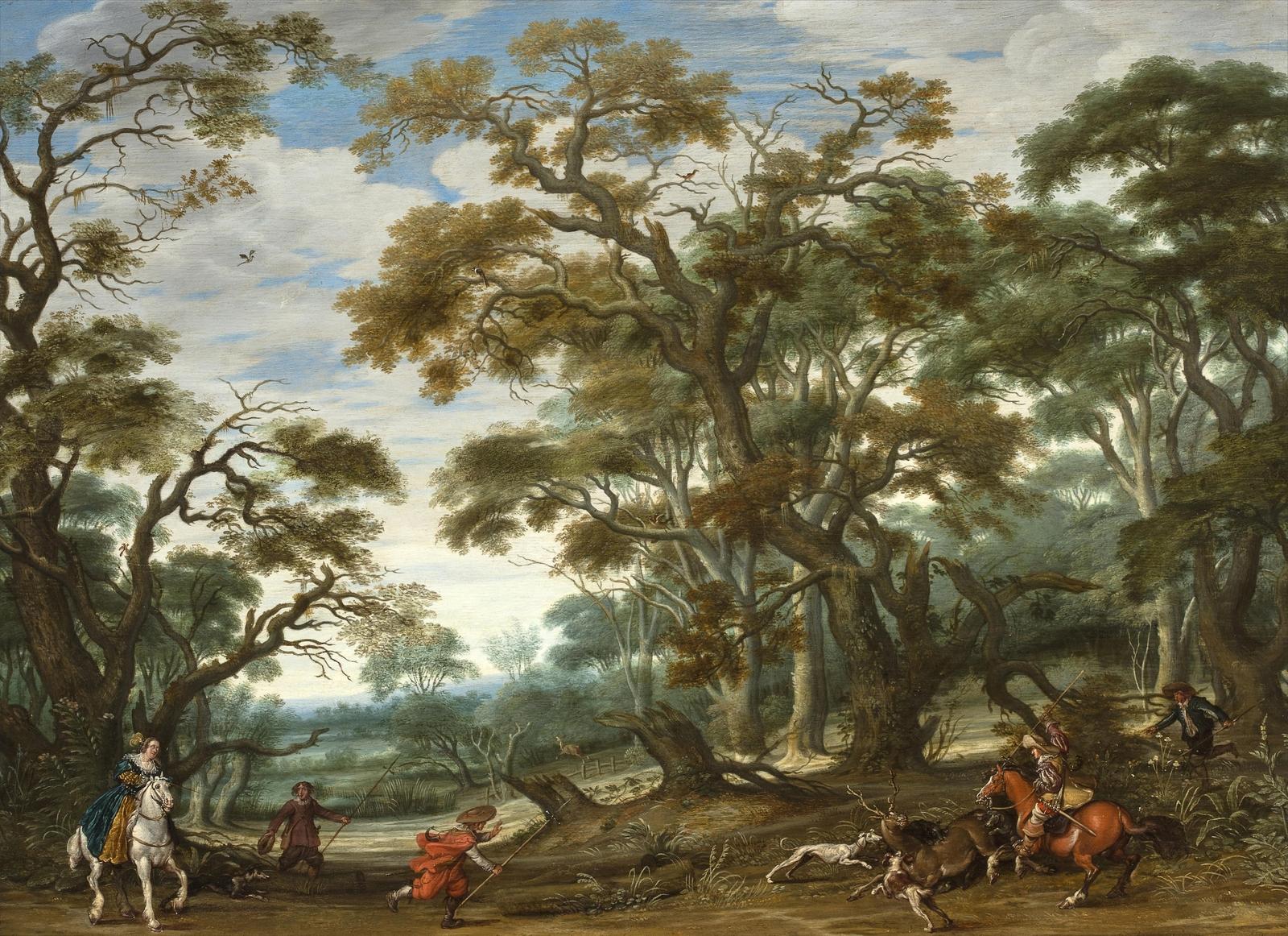 Обои картина, Лесной Пейзаж с Оленьей Охотой, Ян Брейгель старший. Разное foto 19