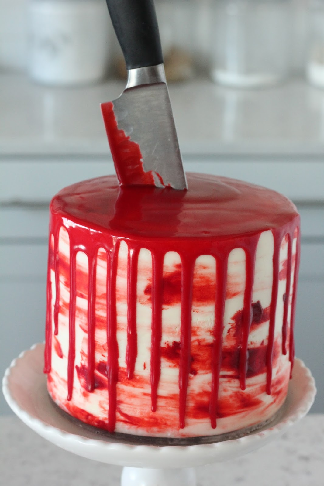 Halloween Bloody Knife Cake (Red Velvet Cake with Almond Cream ...