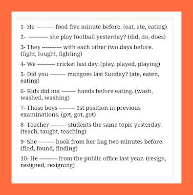 Worksheet Past Simple Tense