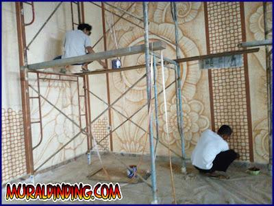 Mural Dinding Gambar Ornament Kembangan Relief