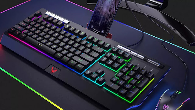 gaming keyboard and mouse with rgb colors and lighting