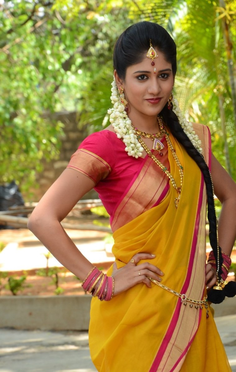 Actress Chandini Chowdary Hip Navel In Yellow Saree