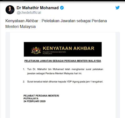 Viral Petang (24/02/2020) Malaysia – Kabar mundurnya Perdana Menteri Malaysia Mahathir Mohamad muncul di sejumlah media massa di Malaysia. Antara lain sebagaimana diberitakan Malaysiakini.com.
