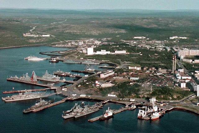 Base de Severomorsk onde estaria o submarino acidentado.