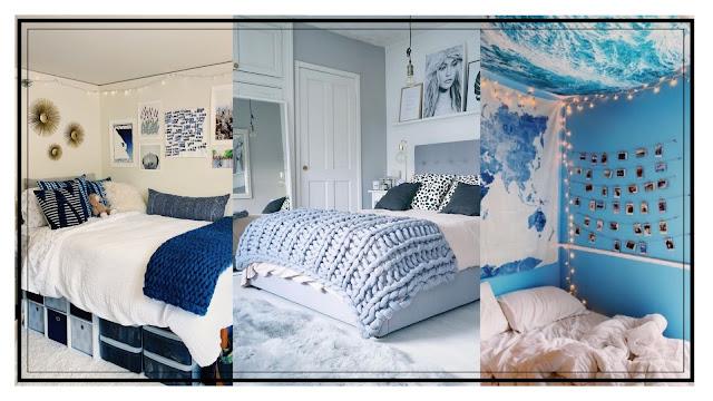 desain kamar warna biru sederhana dan estetik