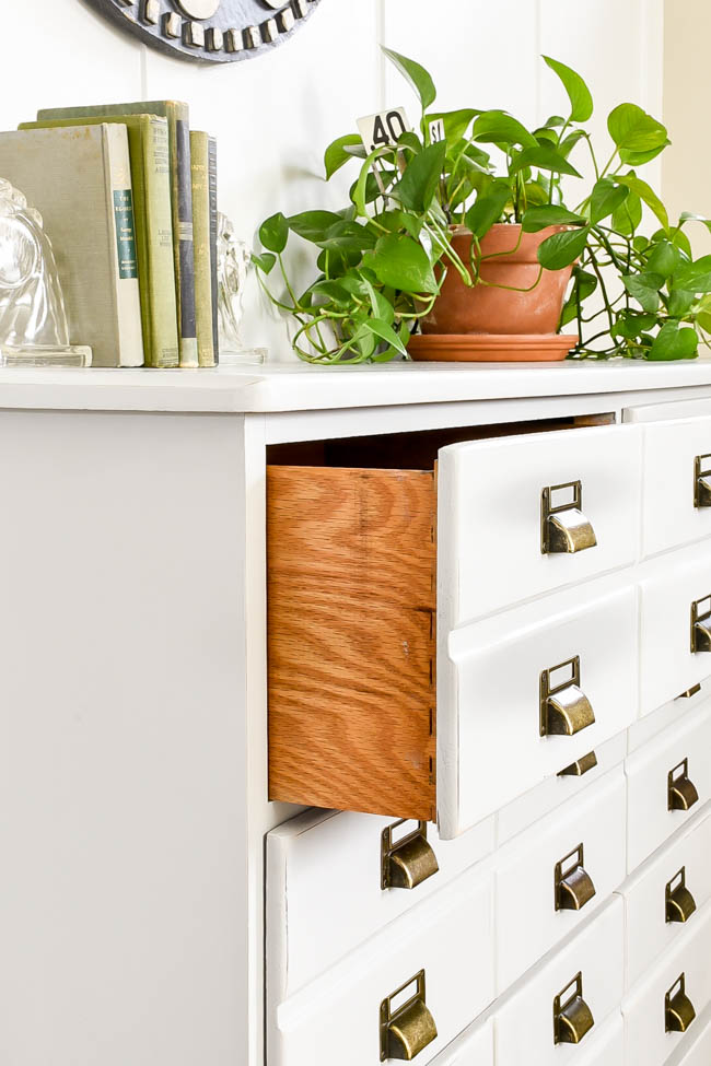 Dovetail drawers in DIY apothecary cabinet