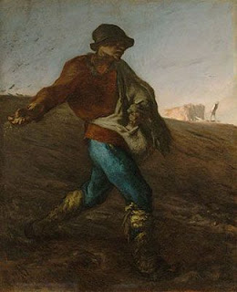 farmer planting seeds by throwing