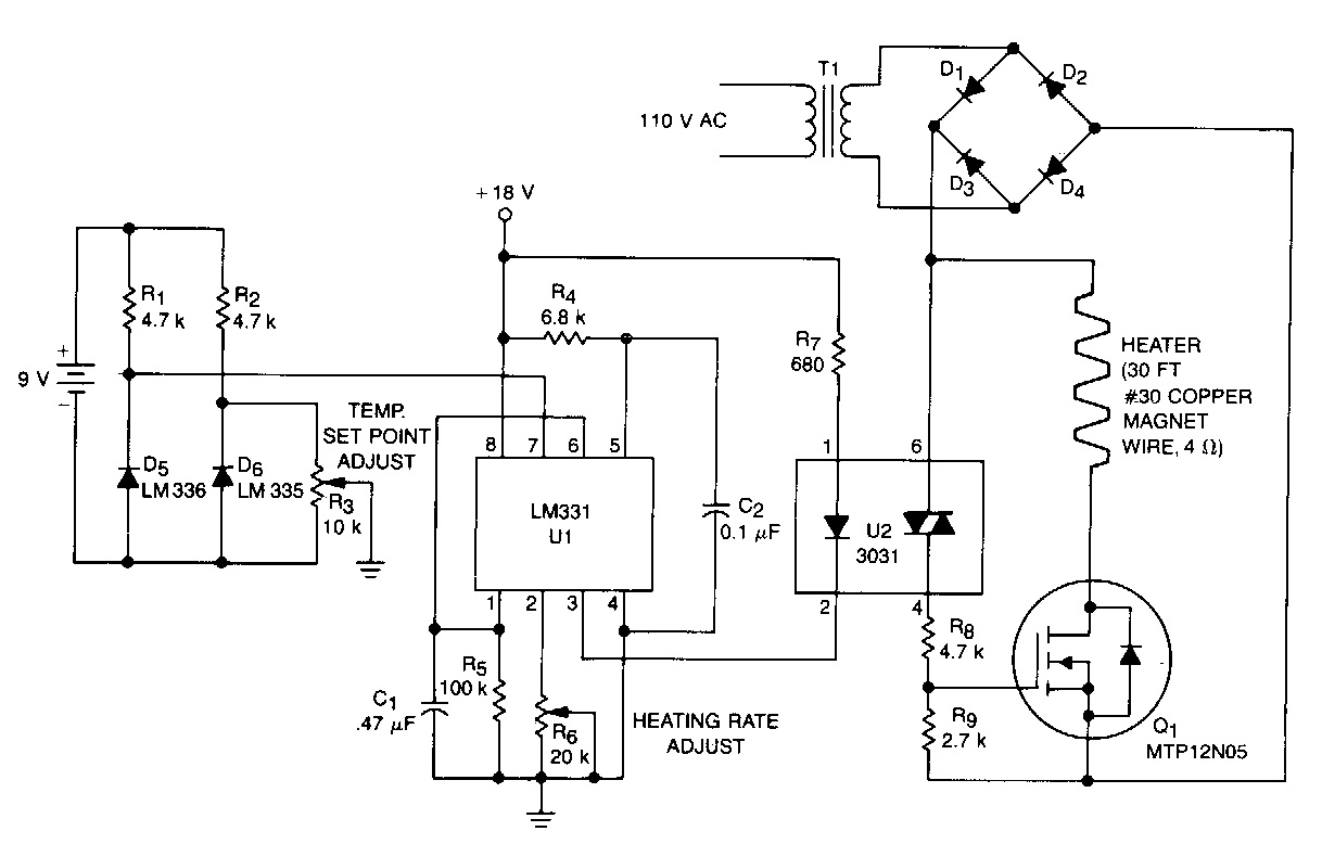 Simple Proportional Temperature Controller Circuit Diagram