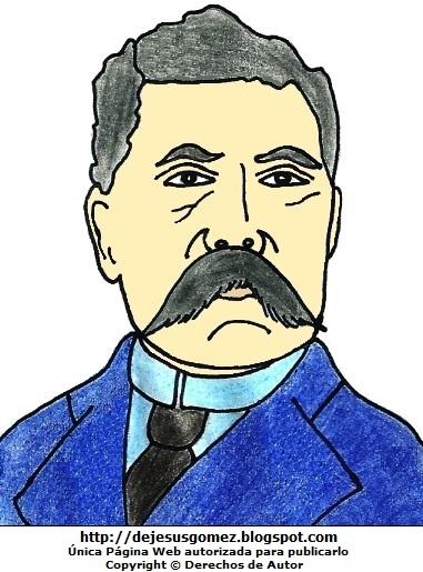 Dibujo de Porfirio Díaz a colores, imagen de Porfirio Díaz para niños. Dibujo de Porfirio Díaz hecho por Jesus Gómez