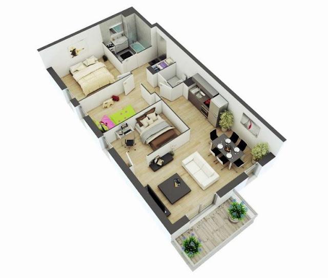 Denah Rumah 1 Lantai Type 45