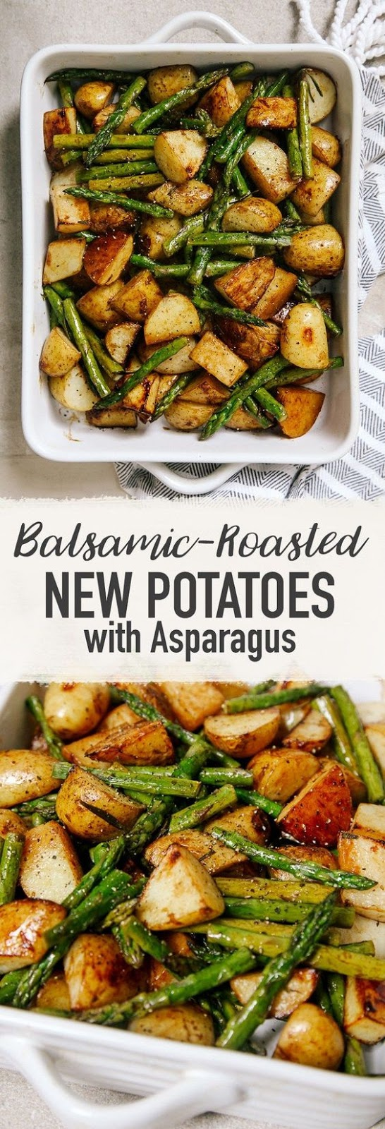 I've been obsessed with balsamic vinegar lately, adding it to all my meals and binge-eating bread and and balsamic vinegar dip. It's pretty addictive stuff and adds such a wonderful, unique flavour to things.  Today's recipe uses it to bring out the sweetness of seasonal asparagus and give a crisp golden coating to these new potatoes.