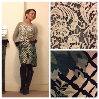 Lace jumper and Boden print skirt