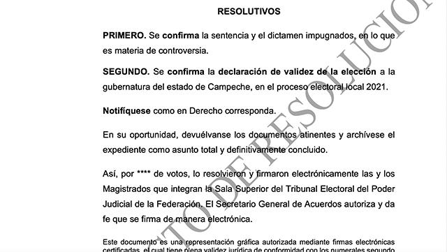 El TEPJF plantea confirmar el triunfo de Layda Sansores en Campeche