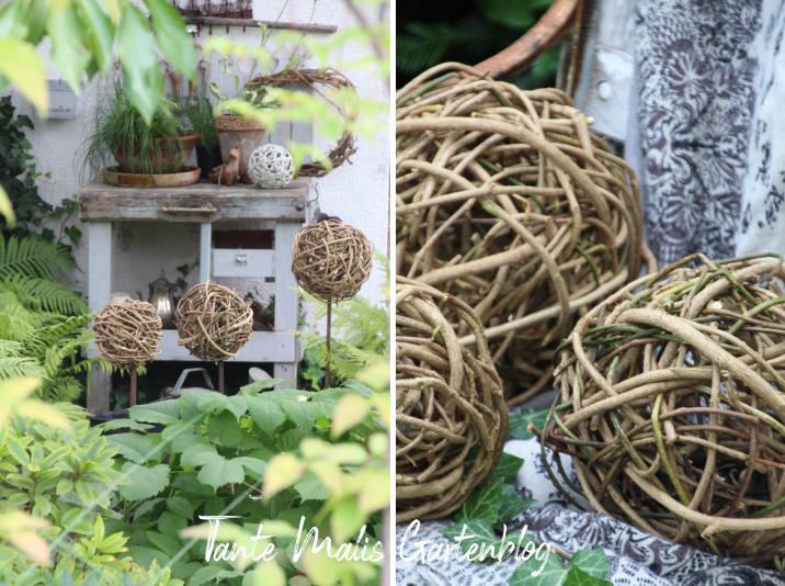 Gartendekoration mit selbst gemachten Efeukugeln