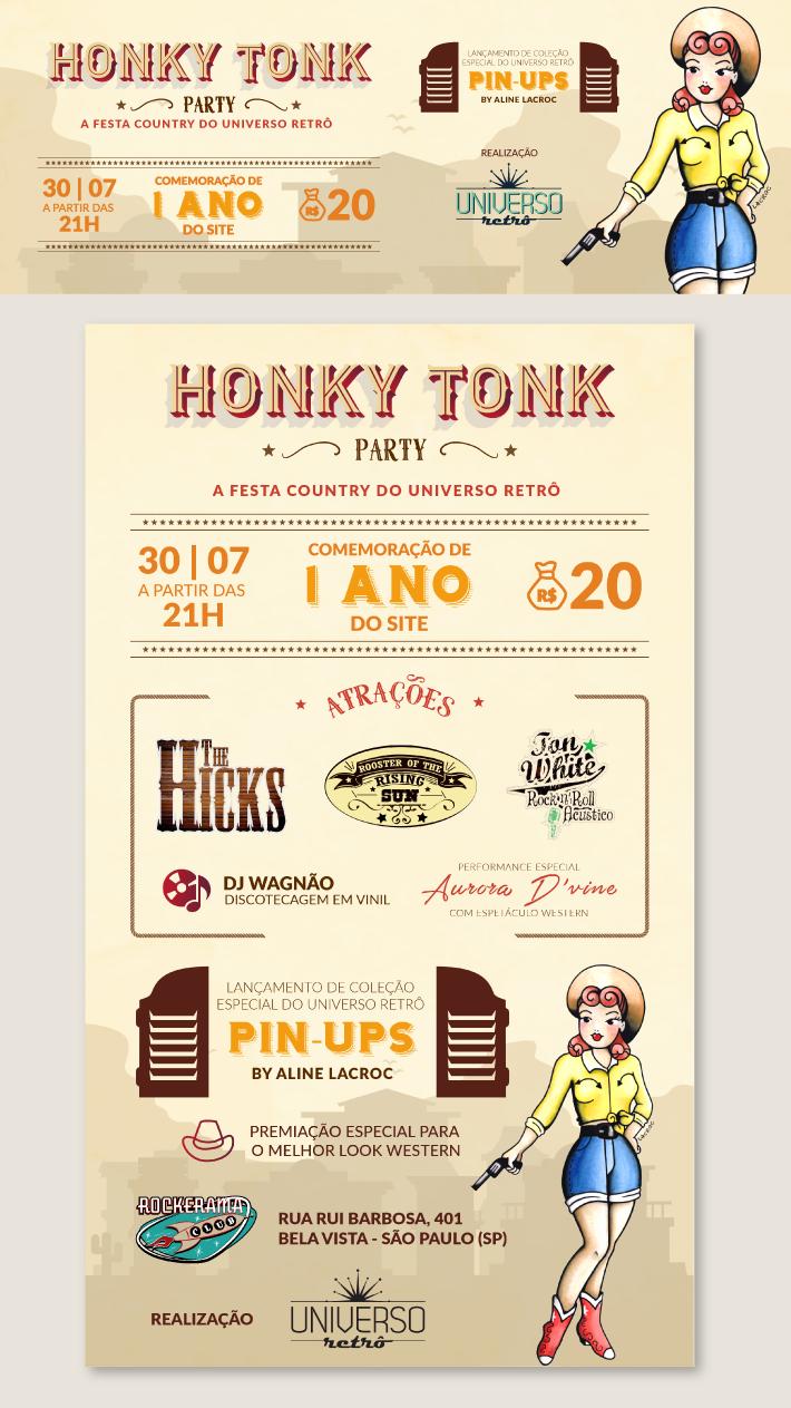 Honk Tonk Party, Evento retrô, design de eventos, criação de flyer, criação de cartaz, design de cartaz, design de flyer, designer de eventos, universo retrô, arte retrô, design retrô, retro, identidade visual para eventos, marca de eventos