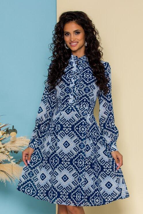 Rochie office la moda gri cu imprimeuri bleumarin aztec