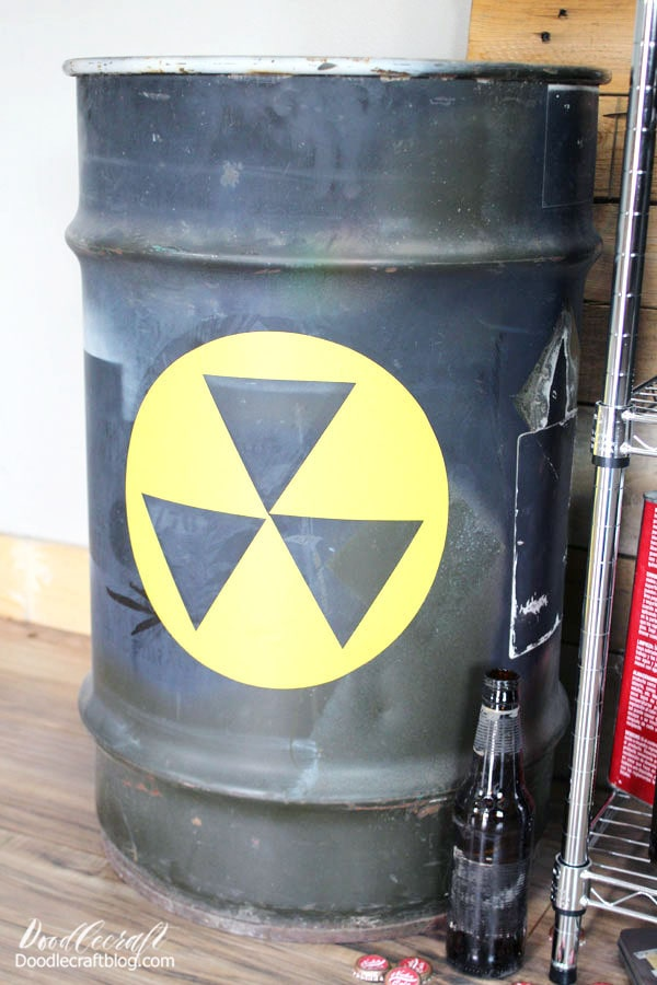 I used my Cricut Machine to cut out the big hazardous waste logo for my steel drum barrel. I used vinyl and just stuck it right in place. My husband loves it and uses it in the garage for wood scraps.
