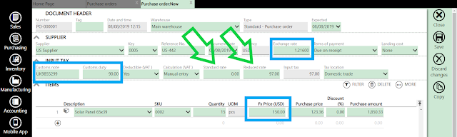purchase order import vat