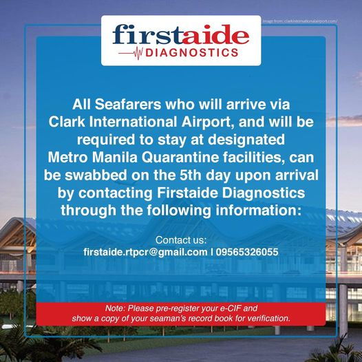 Firstaide Diagnostics Swabbing at CLARK Airport