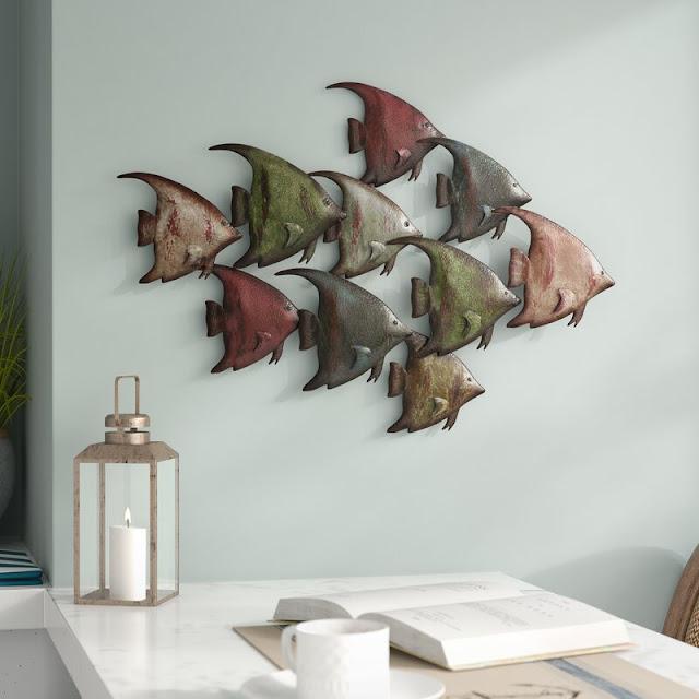 Coastal Metal Fish Wall Decor