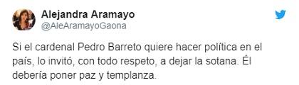 Twitter Alejandra Aramayo contra Barreto