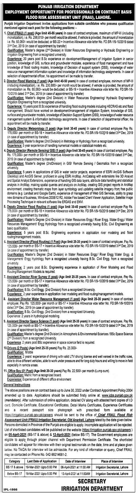 Irrigation Department Punjab Jobs March 2021 Apply Online Latest