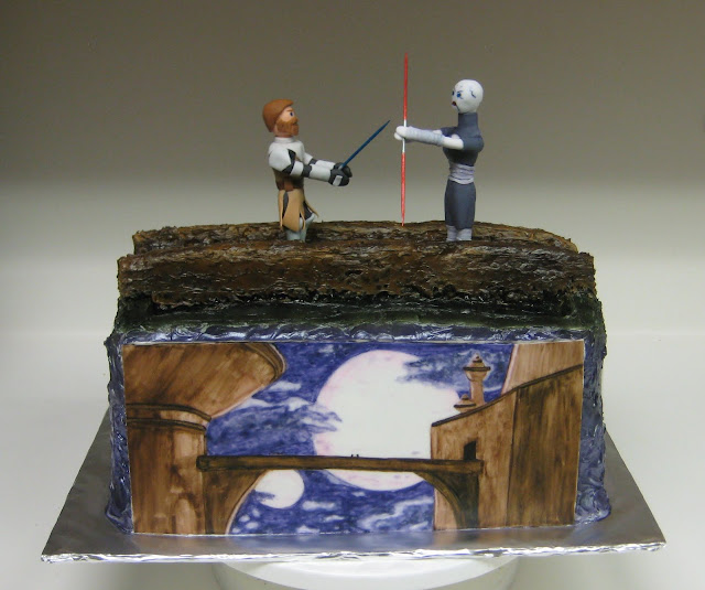 Star Wars: The Clone Wars Themed Cake - Obi-Wan Kenobi and Asajj Ventress Duel 1