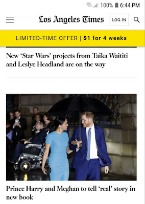 Duke and Duchess of Sussex new biography is BIG news in LA see article in LA Times